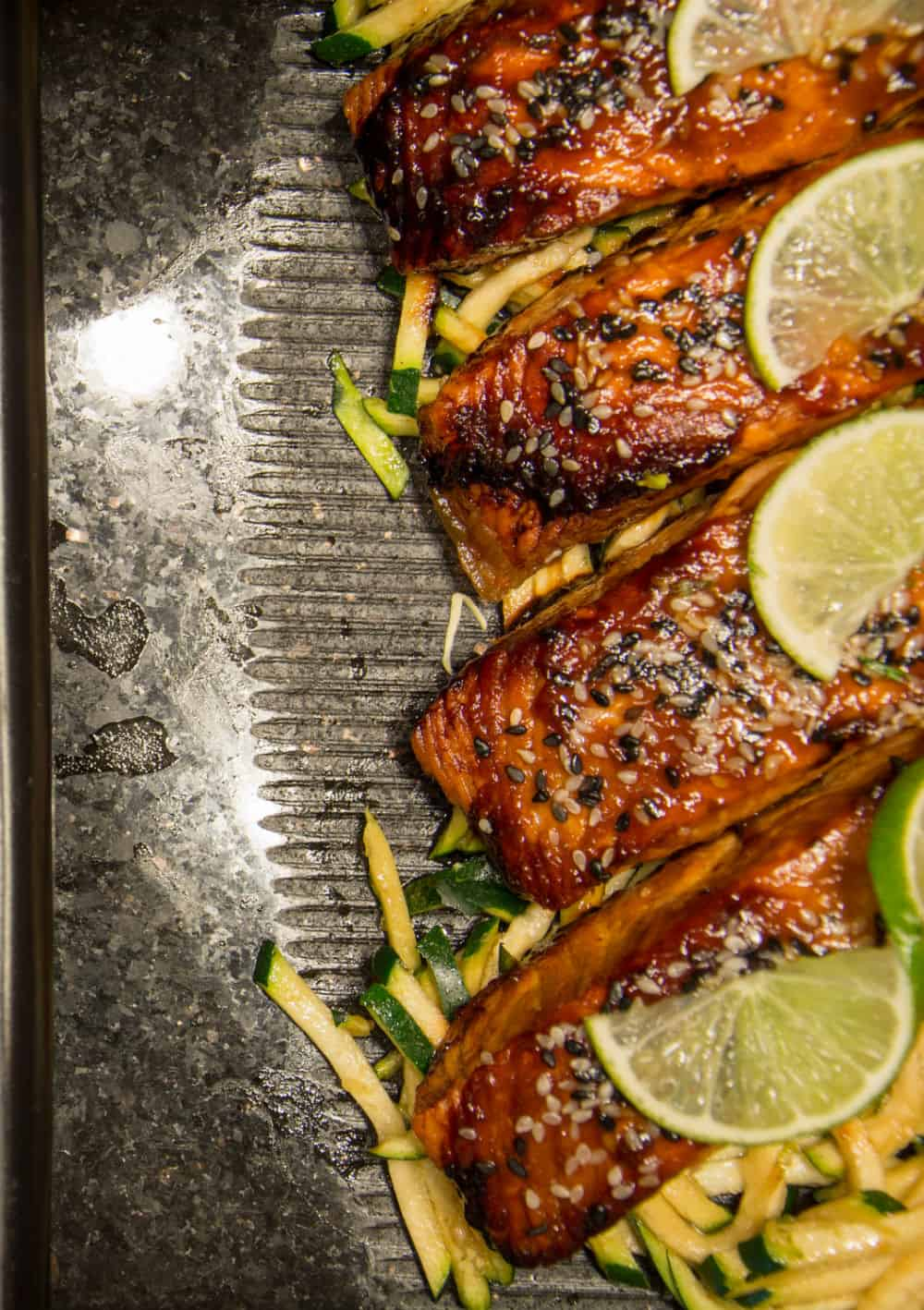 Nice brown sugar and sesame glazed salmon