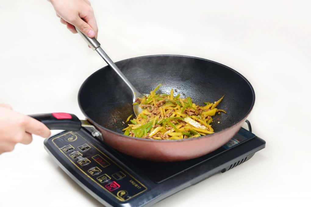 shredded potato is cooked with an induction hob