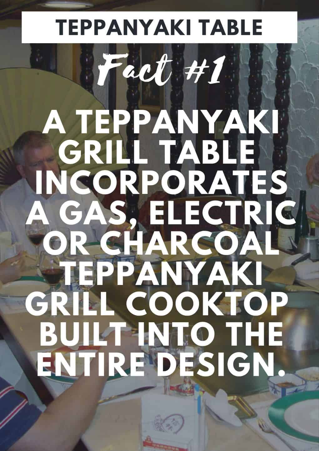 A Teppanyaki table is a table with built in teppanyaki grill plate