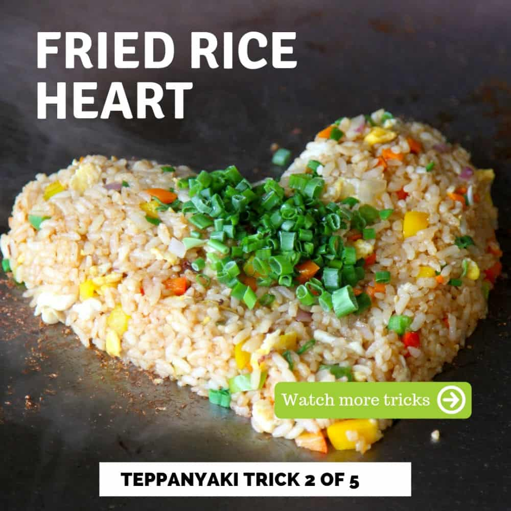 Teppanyaki trick 2 of 5 fried rice heart