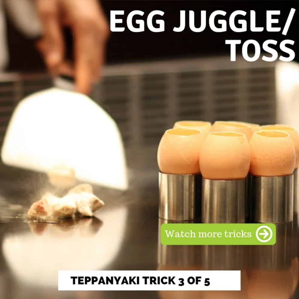 Teppanyaki trick 3 of 5 egg juggle toss