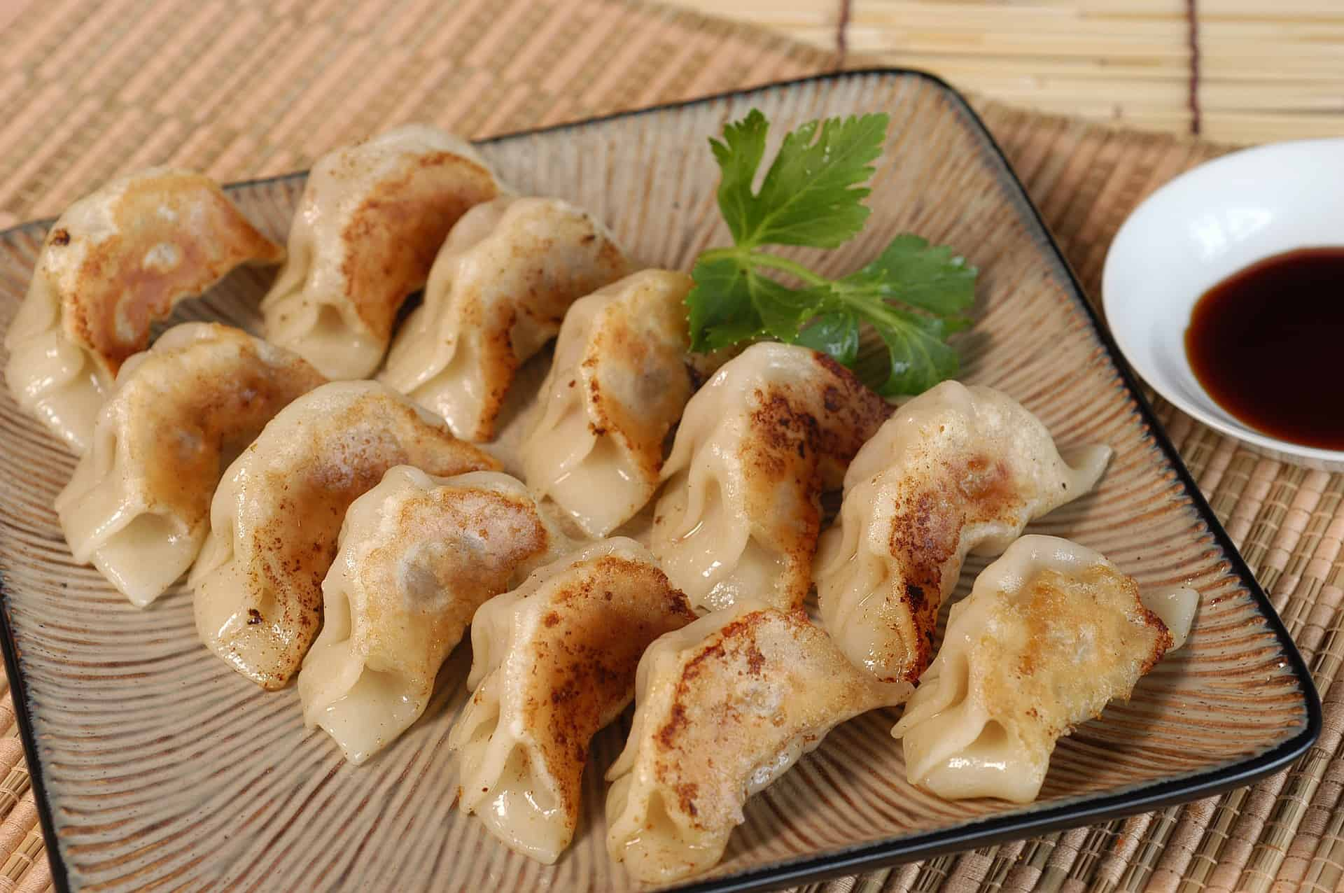 a plate of gyoza and its sauce