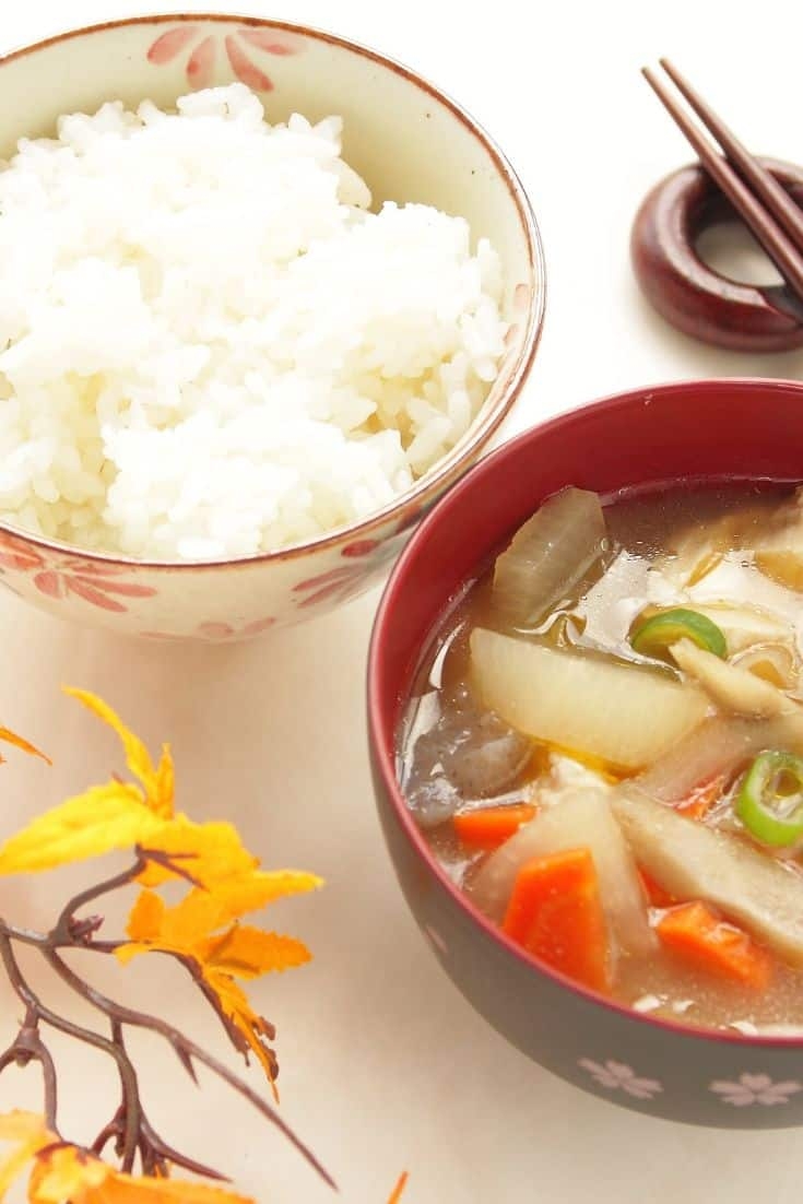 Japanese rice vegetable Soup