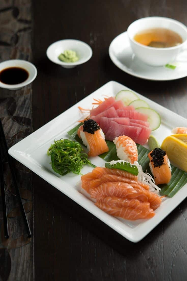 Sushi and sashimi japanese food