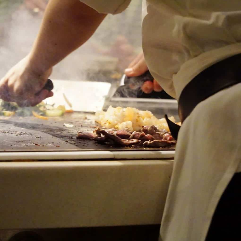 This is what teppanyaki cooking is
