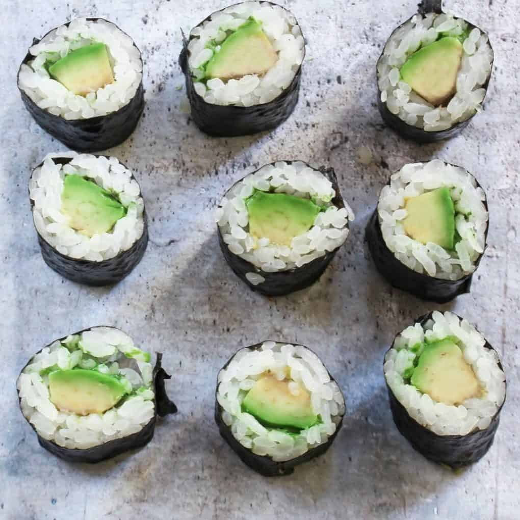 Calories in plain avocado sushi