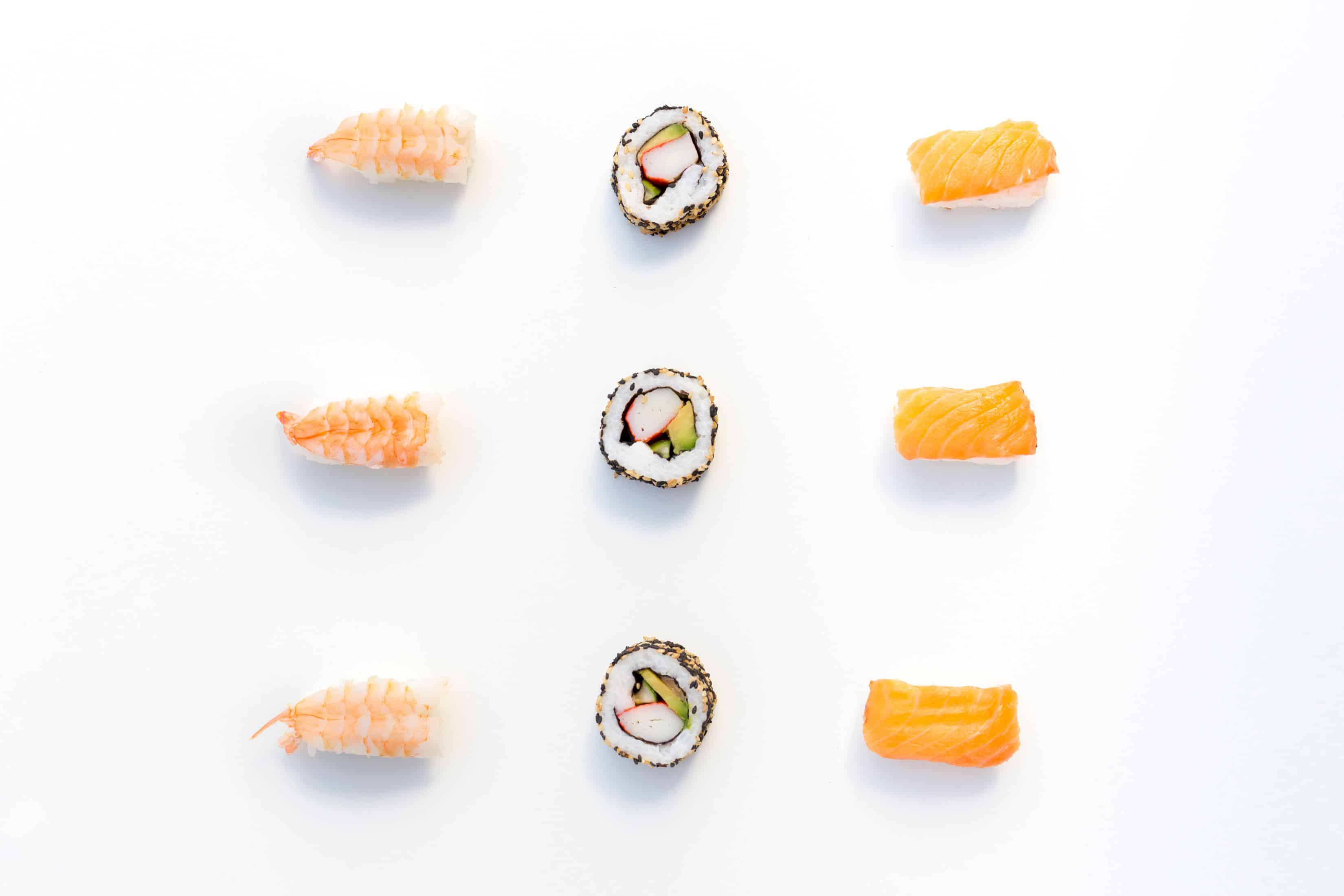 a flatlay picture of sushi