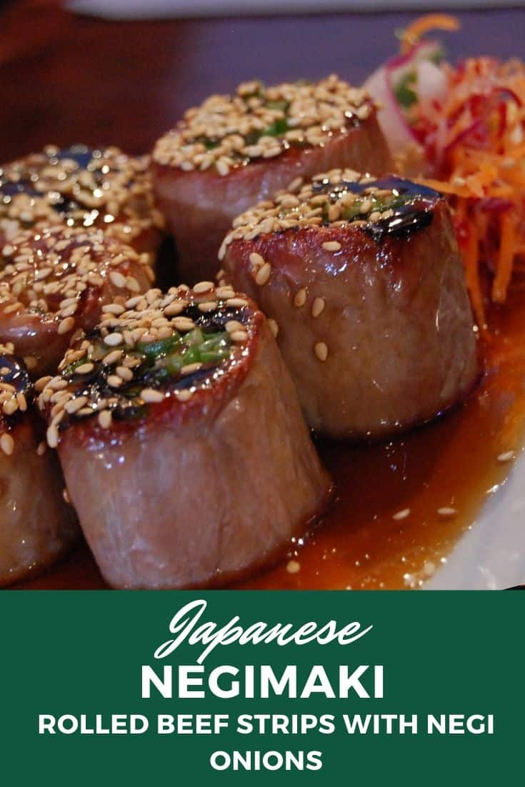 Japanese negimaki rolled beef strips with negi onions