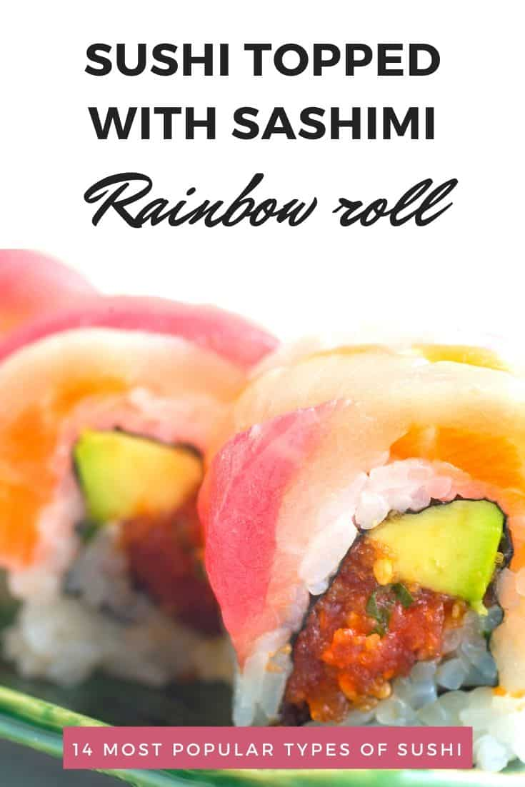 Closeup of a few pieces of rainbow roll sushi