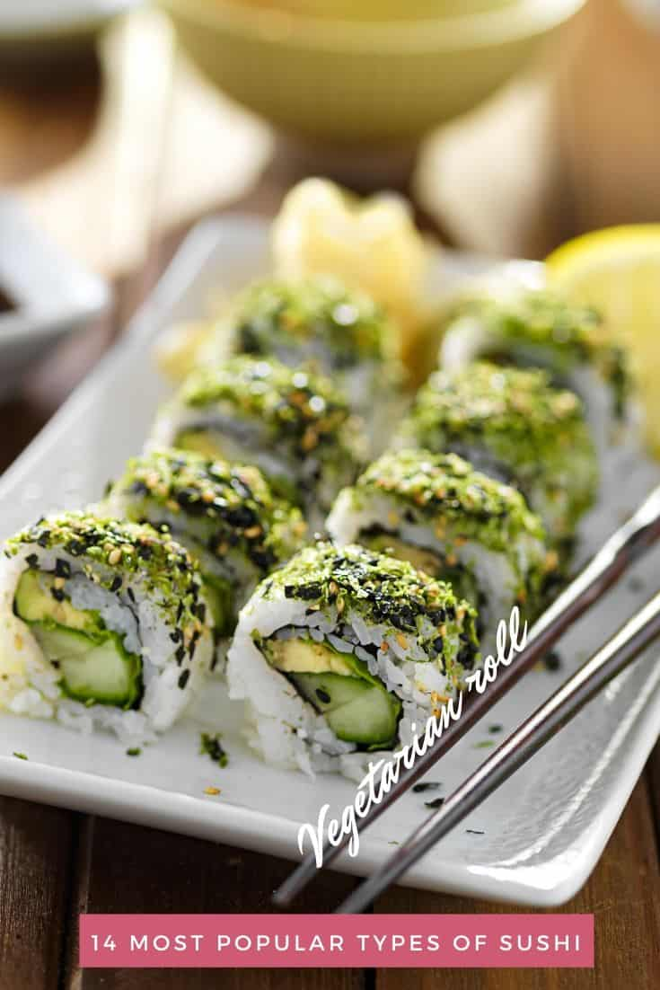 Plate of green vegetarian sushi pieces