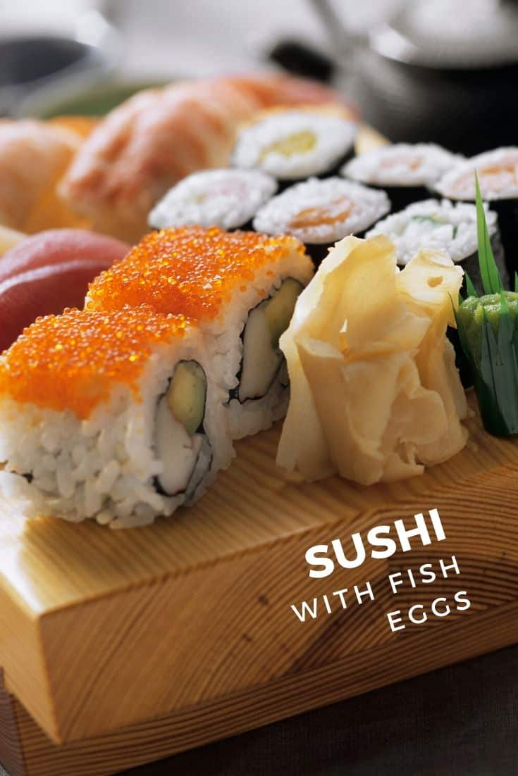 Sushi with fish eggs