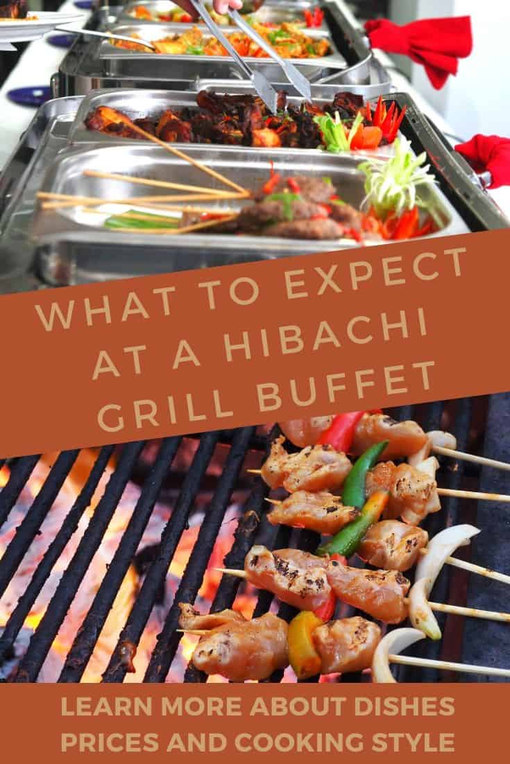 Hibachi grill buffet laid out and skewers on the grill