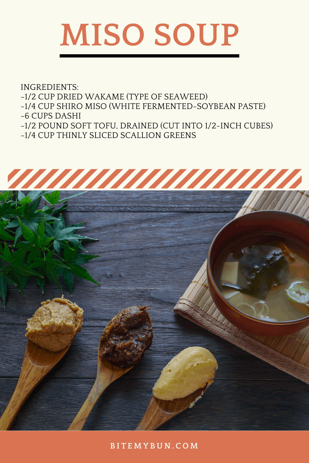 Miso Soup ingredients and cooking instructions