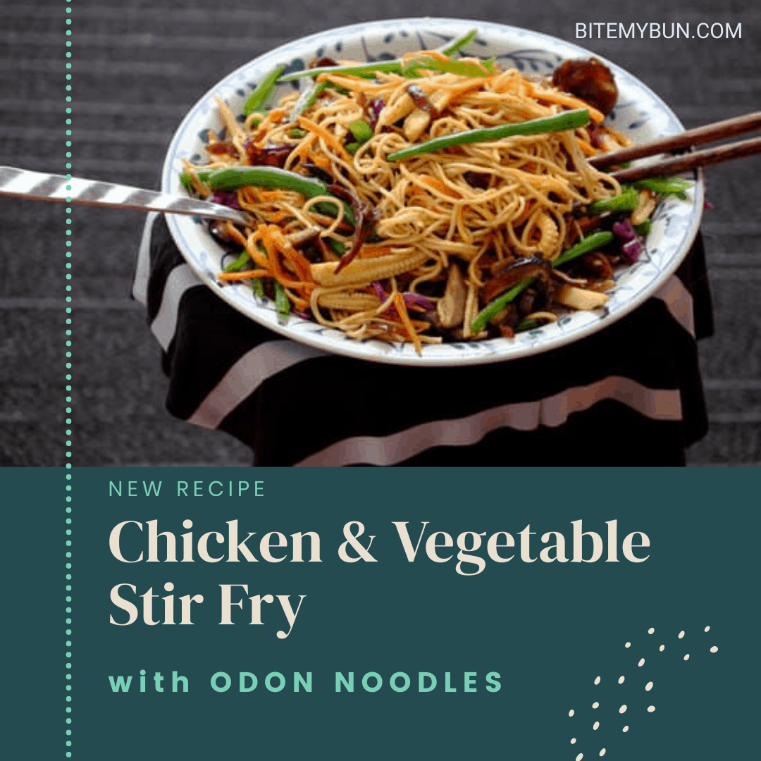 Chicken and vegetable stir fry with odon noodles