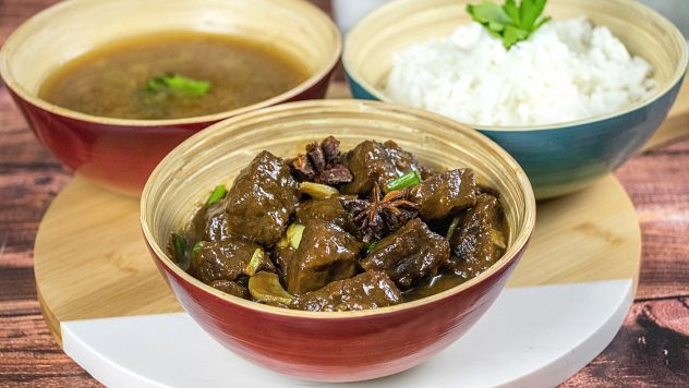Beef pares with broth and white rice