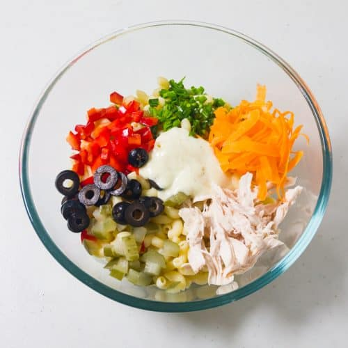 Chicken Macaroni Salad in a large mixing bowl