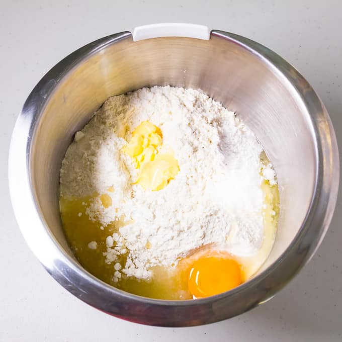 Egg butter and oil mixed for bread dough