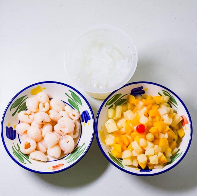 Fruit Cocktail and Lychees with Nata De Coco