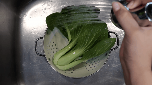 Rinse the bok choy