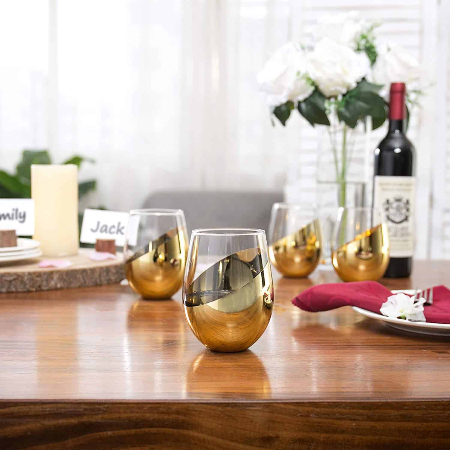 Best brass drinking glasses: Mygift brass toned