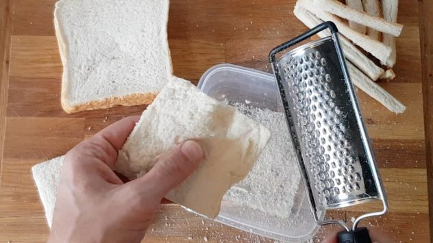 Cut off the crusts and grate the bread for the panko