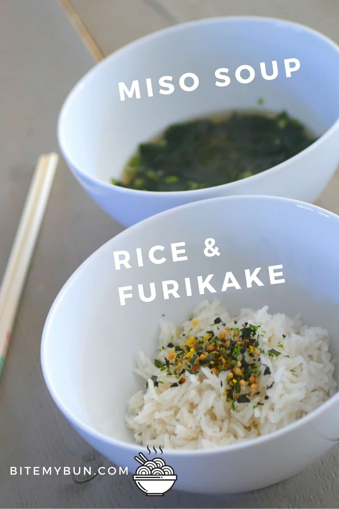 Miso soup with rice and furikake