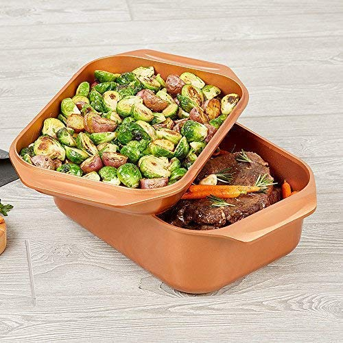 12 QT 14-Inch 1 Multi-Use Copper Chef Wonder Cooker with Roasting Pan and Lid