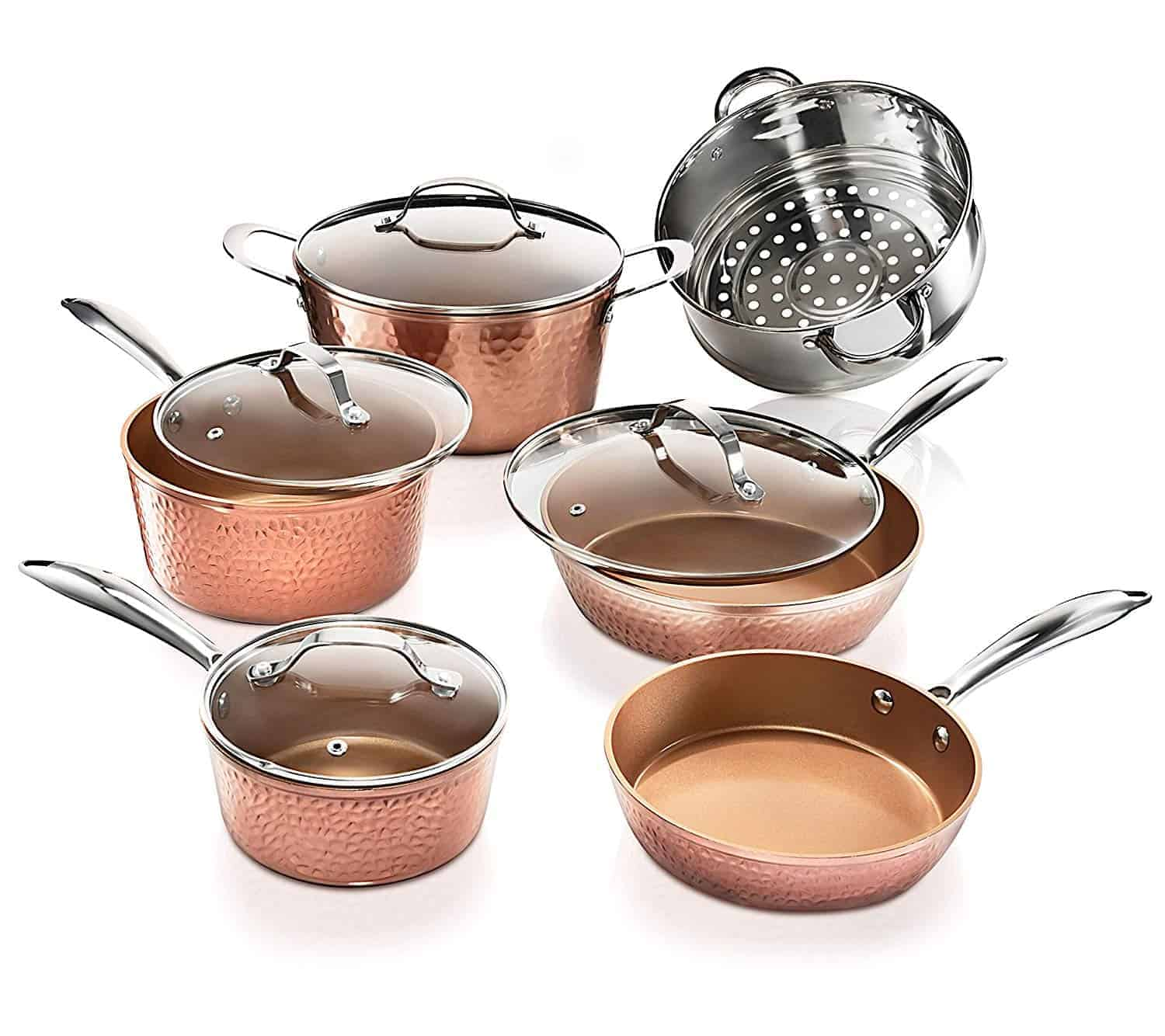 Best budget hammered copper look: Gotham Steel Hammered Collection