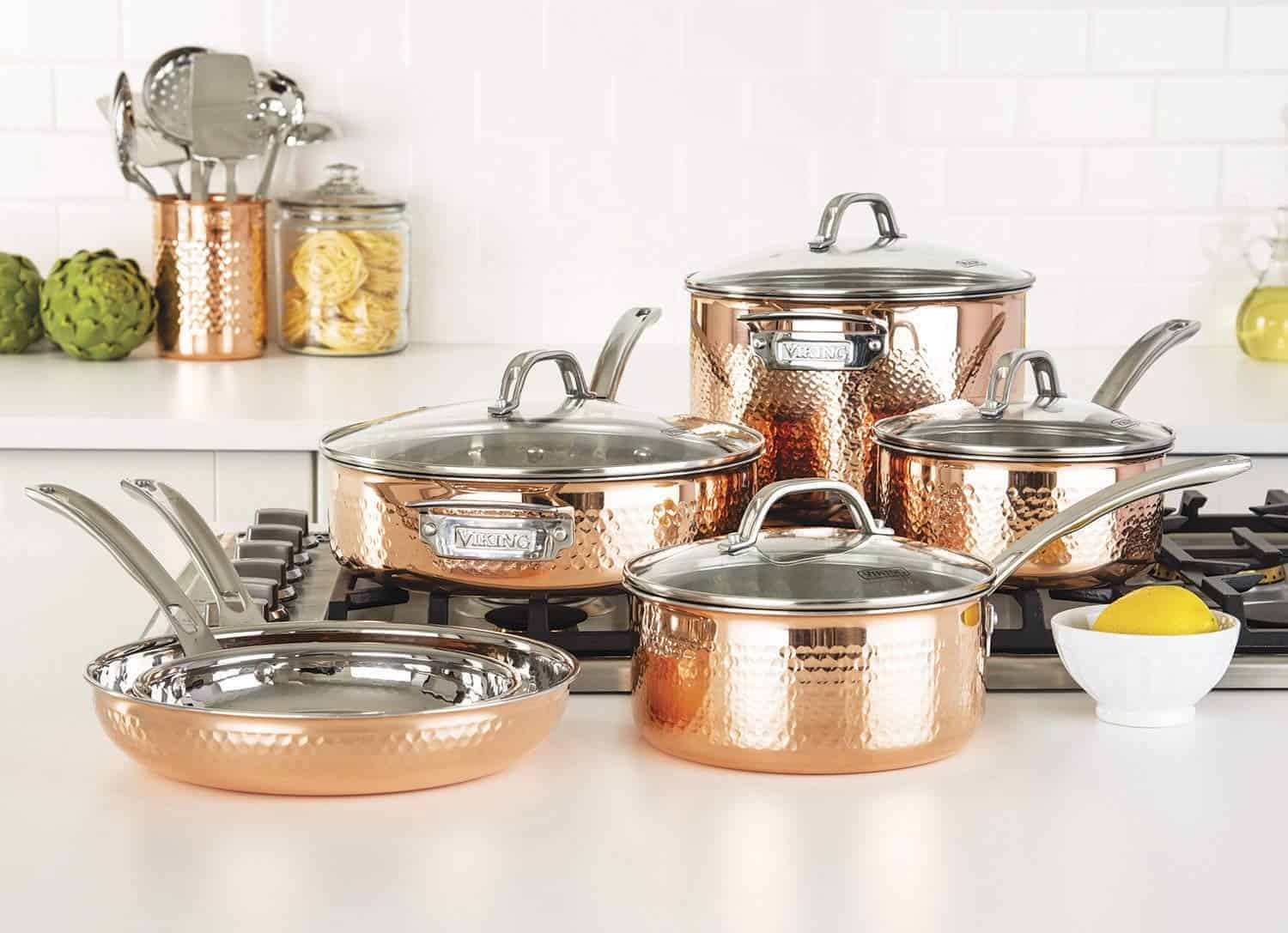 Beste moderne look: Viking Culinary Hammered Copper Clad Cookware Set