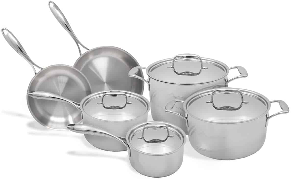 Best value for money induction set: Tuxton 10 piece tri-ply set