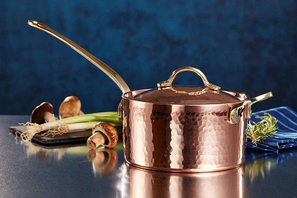 DEMMEX 1.2mm Thick Hammered Copper Sugar Sauce Zabaglione Pan with Helper Handle