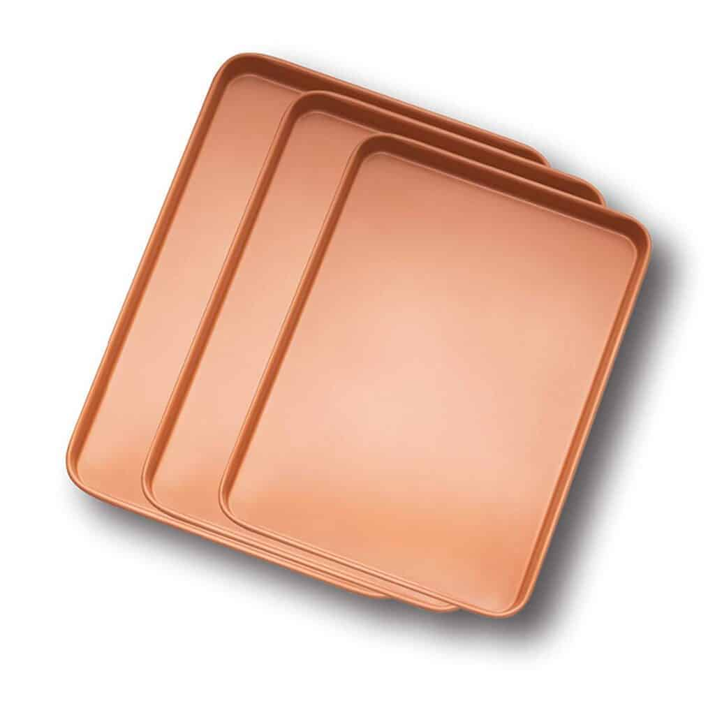 Gotham Steel Baker's Cookie Sheet and Baking Pan Set (copper surface)