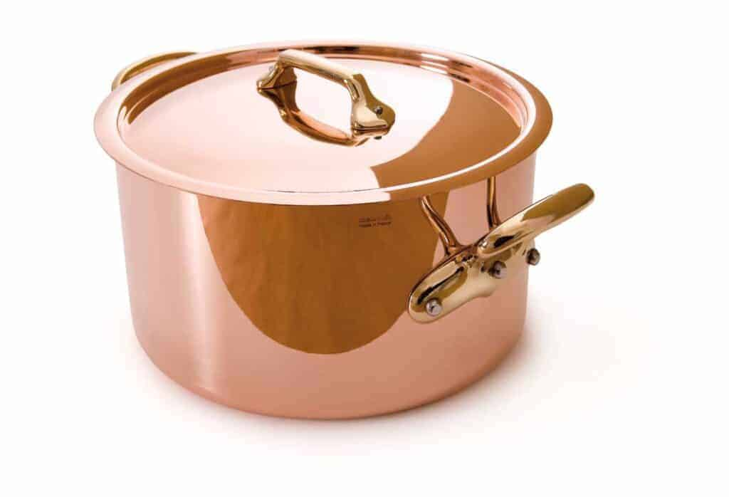 Mauviel Made In France M'Heritage Copper 8-Quart Stockpot with Lid, Bronze Handles