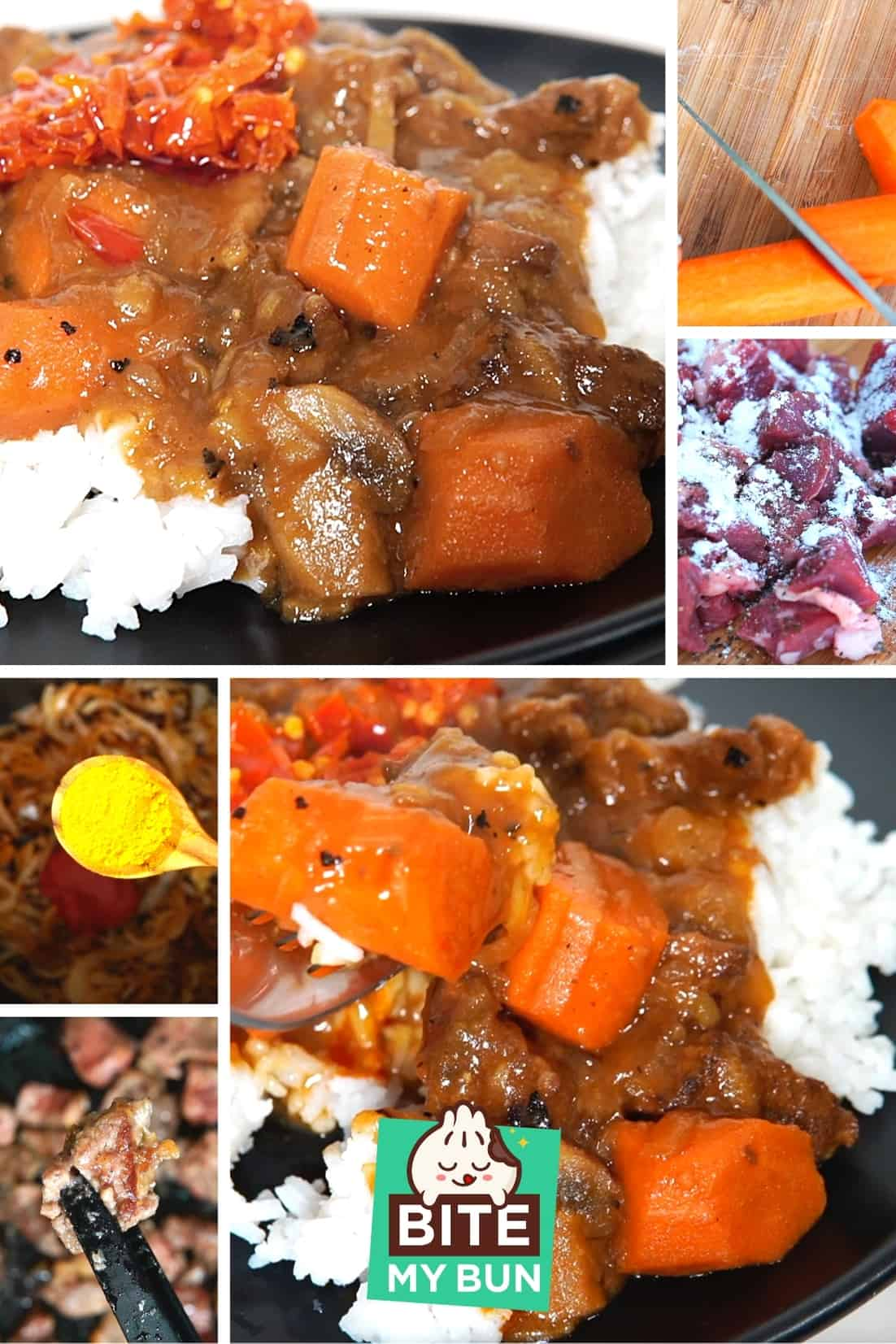 Japanese beef curry dish with rice