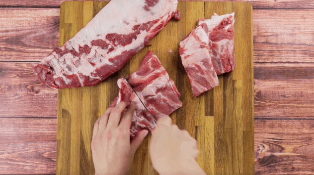 Cut pork belly Liempo into large chunks