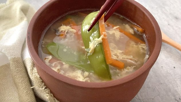 Delicious zosui soup with peas