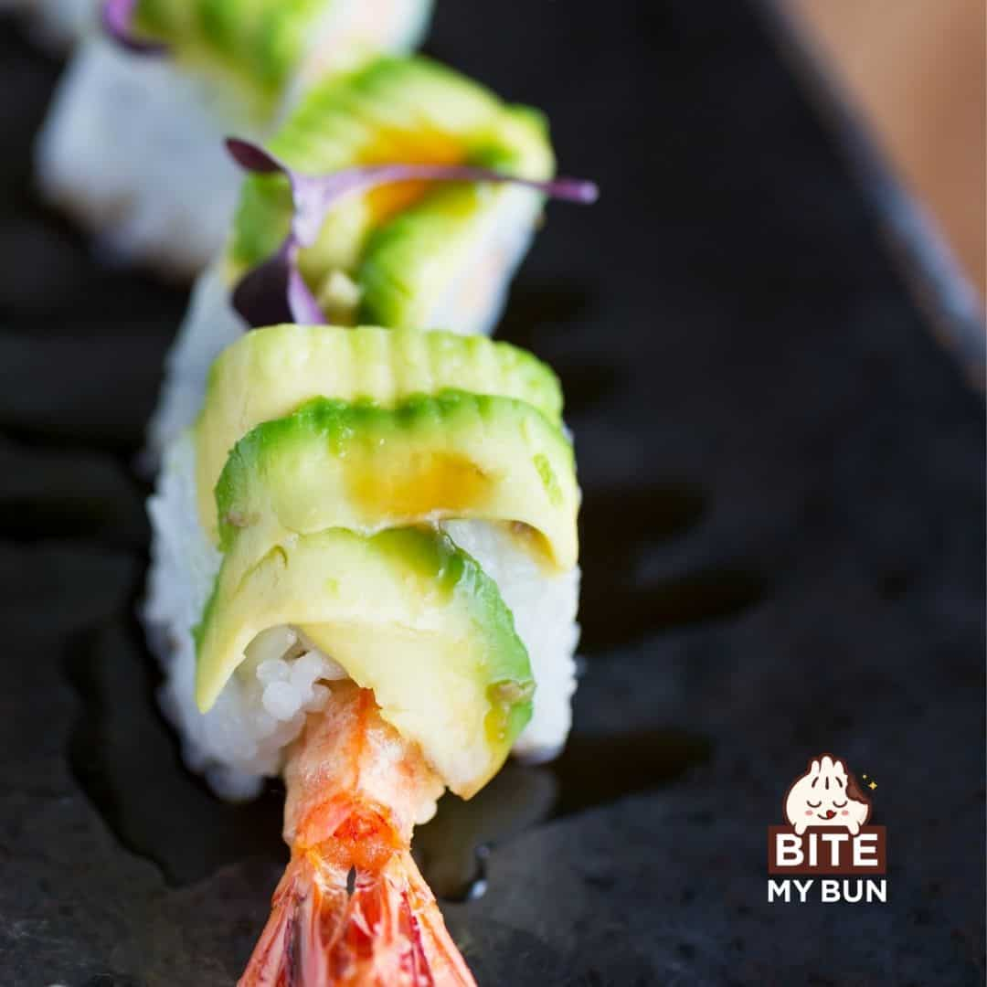 Sushi dragon roll on a plate