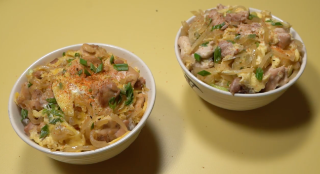 Served and seasoned oyakodon in bowls on the table