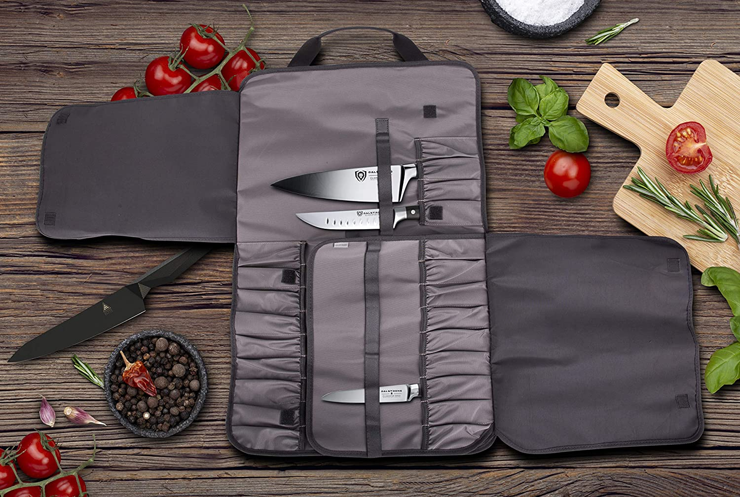 Best premium & large Japanese knife roll- DALSTRONG Ballistic Series in use