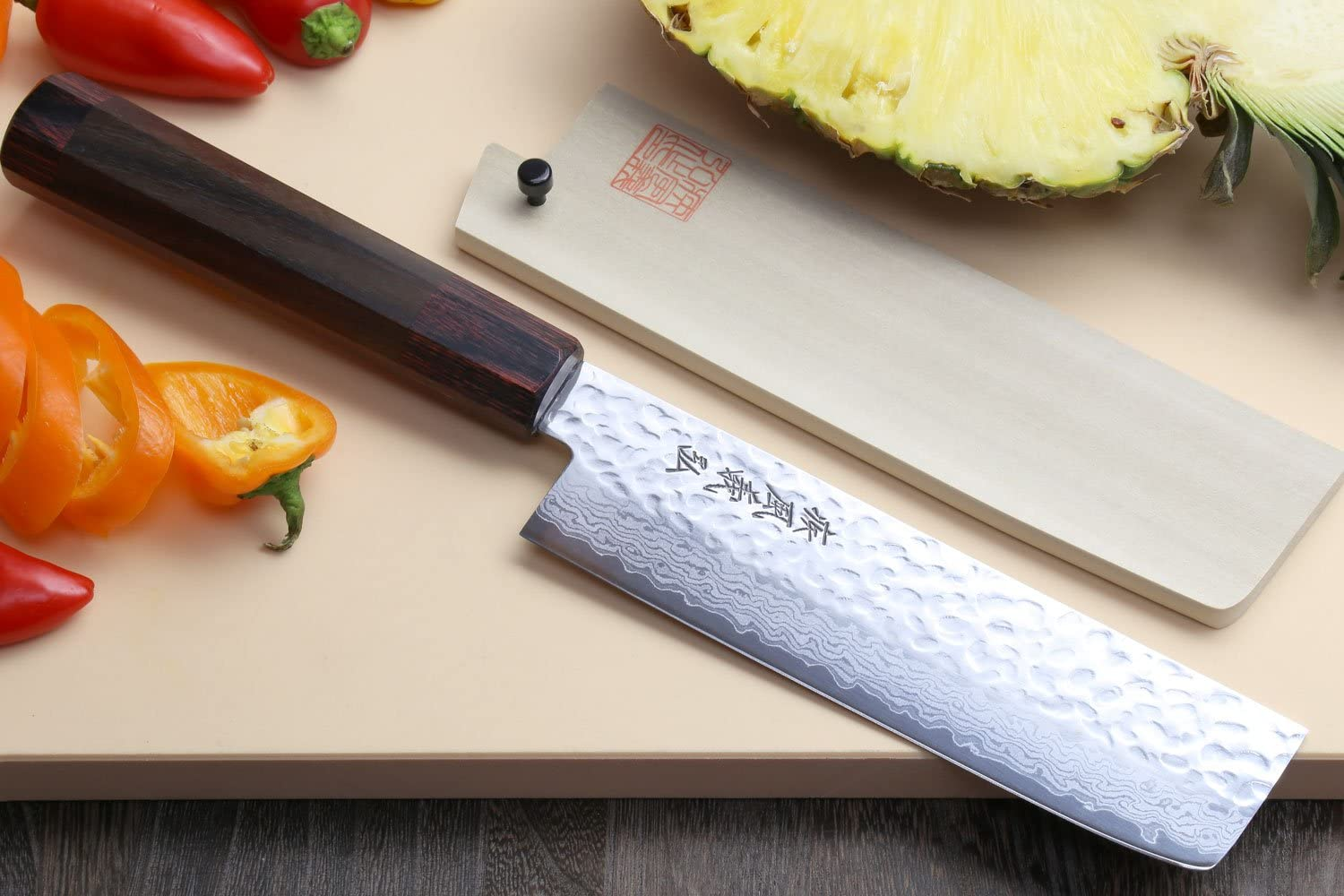 Best usuba square knife for chefs- Yoshihiro NSW 46 Layers on cutting board